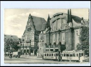 Y16854/ Bielefeld Rathaus mit Stadttheater Straßenbahn 1960 AK