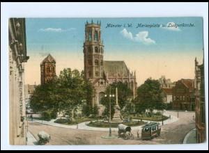 Y16855/ Münster Marienplatz und Ludgerikirche Straßenbahn 1916 AK