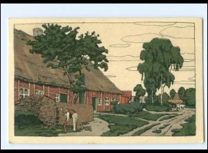 V240/ Steinzeichnung Litho AK Lüneburger Heide Dorfkathe 1915