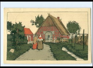 V239/ Steinzeichnung Litho AK Bauernhäuser Schleswig-Holstein 1916