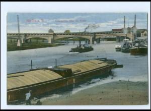 Y16857/ Minden Kanalbrücke über die Weser Schiffe 1917 AK