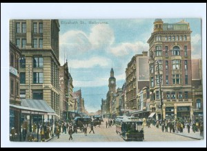 V233/ Melbourne Elizabeth St. Straßenbahn Australien AK ca.1910