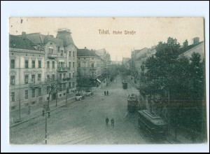 XX10381/ Tilsit Hohe Straße Straßenbahn AK 1917