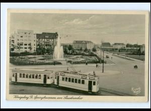 XX10383/ Königsberg Straßenbahn Springbrunne am Staatsarchov Ostpreußen AK 1940