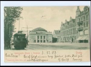 XX10384/ Danzig Kohlenmarkt Thetaer Starßenbahn AK 1902