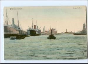 Y16921/ Bremerhaven Kaiserhafen Schiffe 1907 AK