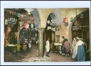 Y17037/ Tunis Souk illumine AK Tunesien ca.1910