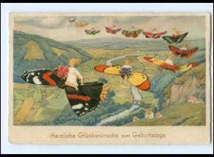 Y17008/ Geburtstag Schmetterlinge Litho AK ca.1930