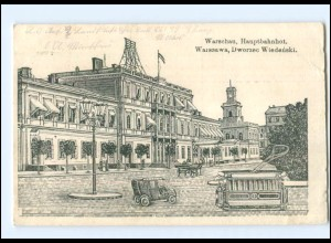 V533/ Warschau Bahnhof Straßenbahn Polen AK 1916