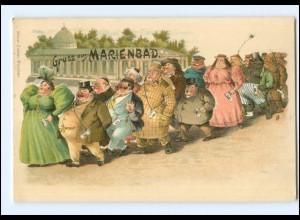 V683/ Gruß aus Karlsbad Typen Judaika dicke Menschen Litho AK ca.1900
