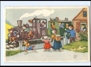 V519/ Menschliche Katzen Eisenbahn AK 1954