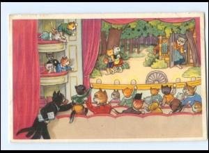 V520/ Menschliche Katzen Theater Hänsel & Gretel AK 1954