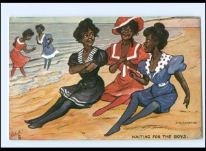 V678/ Black Americana Tuck`s AK farbige Frauen am Strand , sign: Sandford 1910