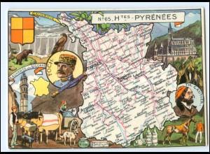Y17051/ Hautes-Pyrenees Landkarten AK Frankreich 1945