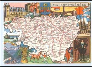 Y17050/ Basses Pyrenees Landkarten AK Frankreich 1945