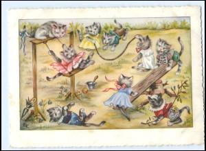 Y16990/ Katzen spielen auf dem Spielplatz sign: EK AK 1954
