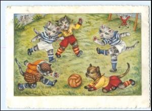 Y16986/ Katzen spielen Fußball sign: EK AK 1954