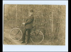 V617/ Junger Mann mit Fahrrad Foto AK ca.1920