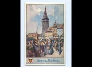 V620/ Komotau Marktplatz Deutscher Schulverein AK ca.1915 Tschechien Böhmen