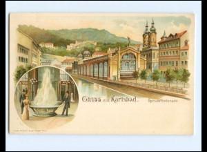 Y17182/ Gruß aus Karlsbad Litho AK ca.1900 Böhmen Tschechien
