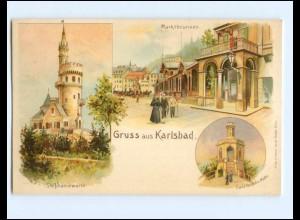 Y17183/ Gruß aus Karlsbad Litho AK ca.1900 Böhmen Tschechien