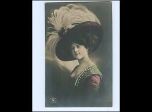 V625/ Hutmode junge Frau schöne Foto AK 1910