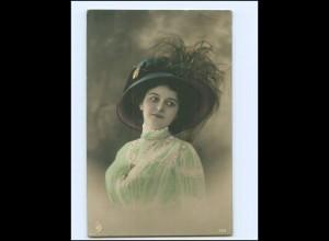 V624/ Hutmode junge Frau schöne Foto AK 1910