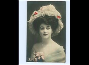 V626/ Hutmode junge Frau schöne Foto AK 1909