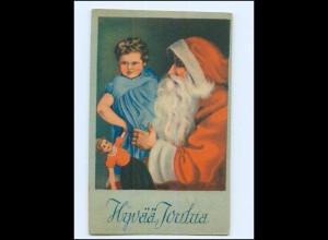 Y17246/ Weihnachtsmann Hyvää Joulua Kind und Puppe AK 1942 Finnland