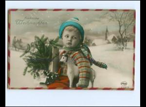 Y17127/ Weihnachten Junge Kind Foto AK