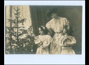 Y17128/ Weihnachten Mutter Kinder Weihnachtsbaum 1909 Foto AK