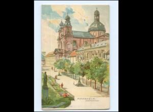 Y17194/ Mannheim Jesuitenkirche Litho AK ca.1900