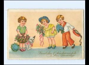 Y17133/ Geburtstag Kinder mit Blumen Litho AK