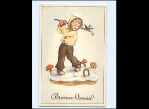 Y17197/ Bonne Annee Kind spielt Golf, Pilze AK