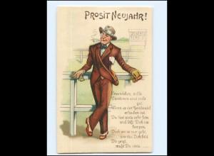 Y17200/ Neujahr Halt gegen Licht Litho AK Pferdewetten Mann mit Zigarette ca1925