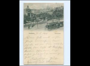 Y17787/ Wiesbaden Kochbrunnen Straßenbahn AK 1904