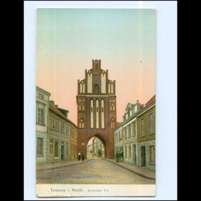 Y17316/ Teterow Meckl. Rostocker Tor goldene Fenster AK 1914