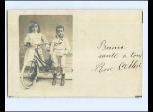V615/ Kinder mit Fahrrad Foto AK 1909