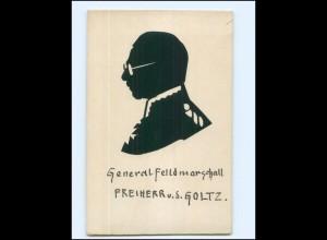 V674/ Original Scherenschnitt Generalfeldmarschall v.d. Goltz Silhouette ca.1915
