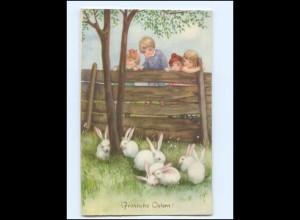 Y17201/ Ostern Kinder Hasen Verlag: HWB ca.1925 AK