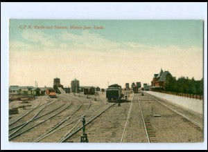 XX11007/ Moose Jaw, Sask C.P.R. Yards + Station Bahnhof AK Kanada Eisenbahn