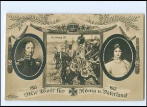 XX11066/ Friedrich Wilhelm III 1813-1913 Foto AK vor Leipzig