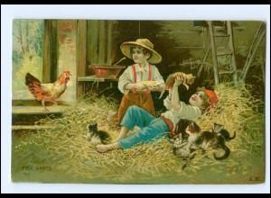 XX10928/ Fra Amici Kinder Jungen mit Katzen Litho AK 1920