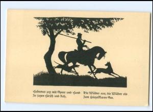 XX11012/ Schattenbild AK v. N. Eicke, Hubertus Jagd Jäger 1927