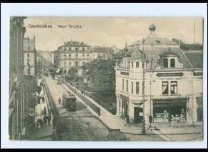XX11077/ Saarbrücken Neue Brücke Straßenbahn AK 1911