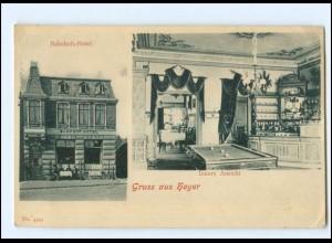 XX10946/ Gruß aus Hoyer Bahnhofs-Hotel Billard AK ca.1900 Nordschleswig