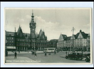 XX10595/ Ostpreußen Elbing Friedr.-Wilhem-Platz mit Rathaus Straßenbahn 1936 AK