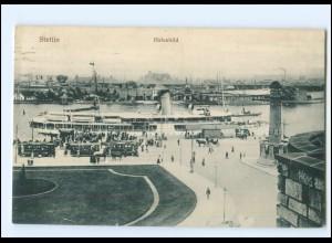 XX10586/ Pommern Stettin Hafenbild Straßenbahn 1915 AK