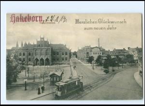 XX11028-388/ Halberstadt Realgymnasium Straßenbahn AK 1914