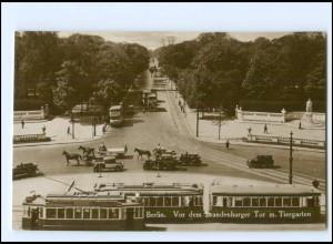 XX10552/ Berlin vor dem Brandenburger Tor mit Tiergarten Straßenbahn Foto AK
